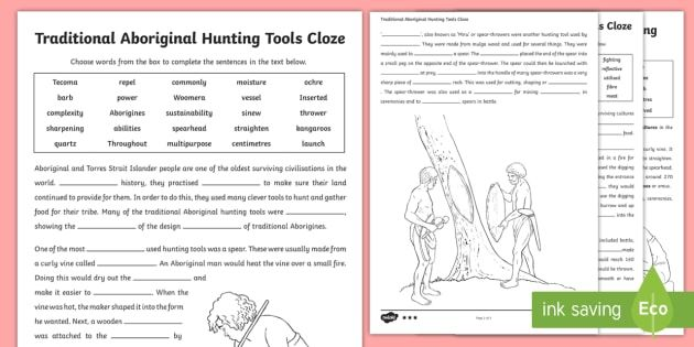 1  Traditional Aboriginal Hunting Tools Cloze