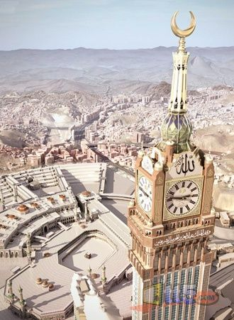 "Mecca, it is both a ""city"" and a ""tower"":  ""And they said, Go to, let us build us a city and a tower, whose top may reach unto heaven; and let us make us a name, lest we be scattered abroad upon the face of the whole earth."" (Genesis 11:4)"