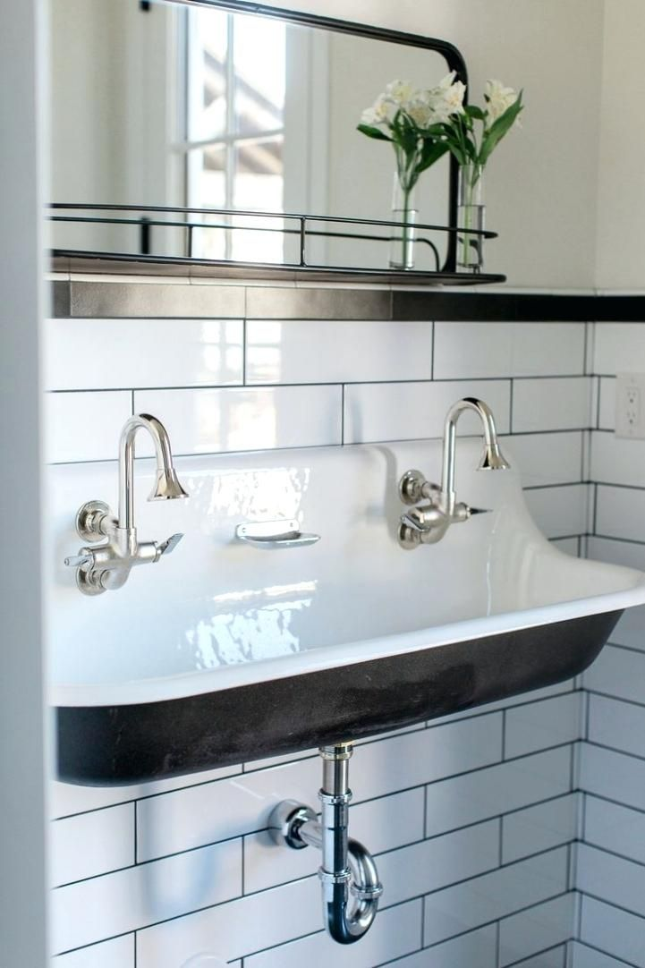 Trough Bathroom Sink With Two Faucets Interesting Trough Sink Your