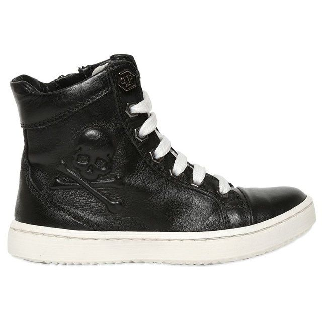 (70) Fancy - Pirate High Top Sneakers by Phillipp Plein Junior