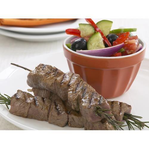 Rosemary kebabs with greek salad recipe.  #Greek #BBQ #Lamb #Starter