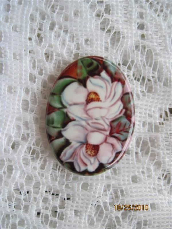 Magnolia Cabochon Magnolia Cameo Magnolia Flowers Fine Porcelain Cameo 40X30...Ready to be set. by DesignsbyShellB on Etsy