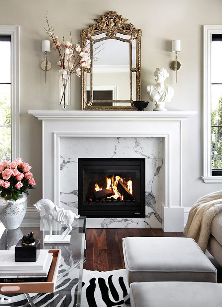 Nice fireplace. Can be faux electrical one for renters.  Seen on 15 Best Fireplaces   Camille Styles