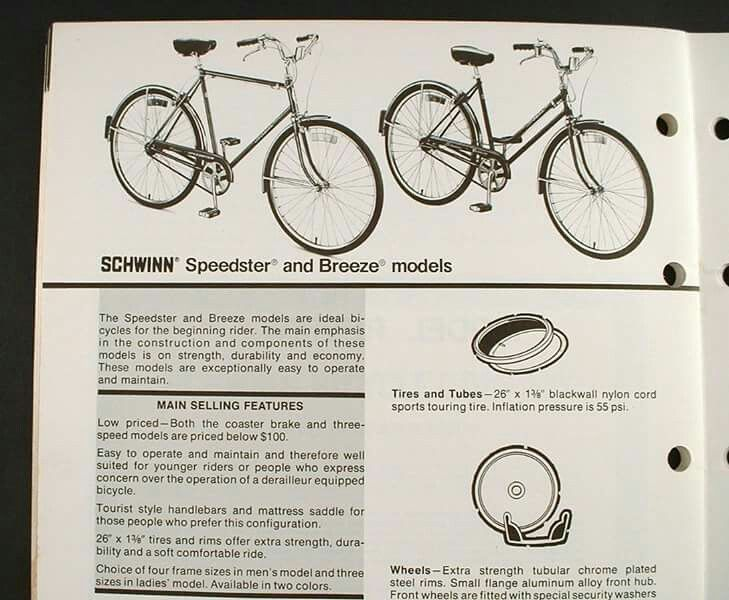 Selling Features Of The Speedster And Breeze From A 1975 Schwinn Dealer Product Guide Vintageschwinn Schwinn Sc Vintage Bicycle Parts Schwinn Bike Schwinn