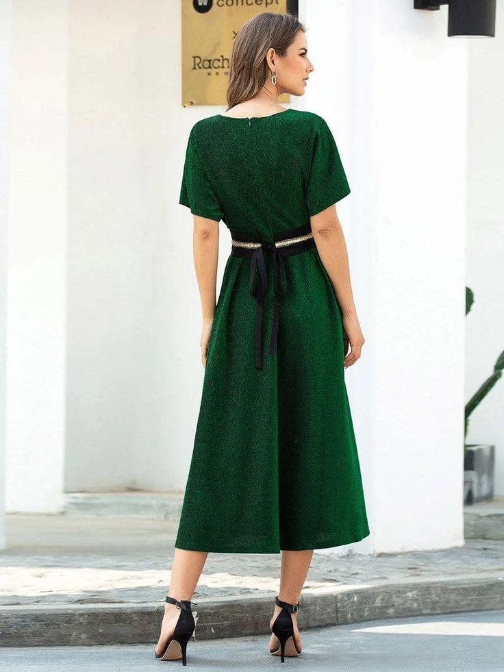 Deep V Neck A-Line Short Shiny Cocktail Dresses for Party ...