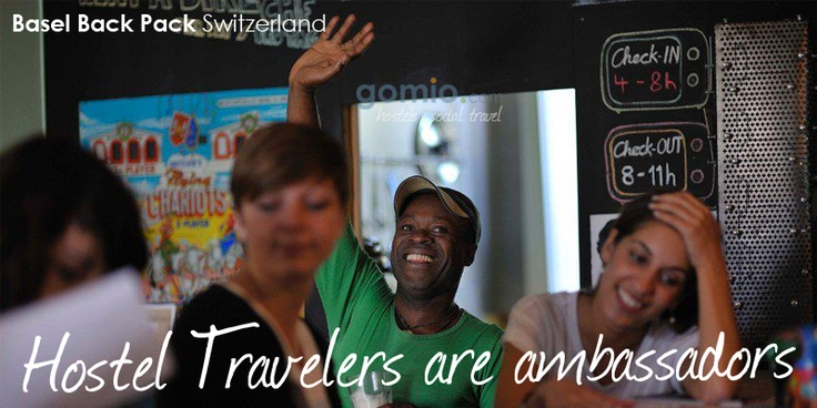 We think #Hostel #Travelers are not #tourists, they are travelers and #ambassadors!   Do you agree? Share this message with your Hostel Friends!  Read more at http://www.gomio.com/blog/index.php/hostel-travelers-are-ambassadors/  #Photo shows travelers at #BaselBackPack - #Urban #Hostel #Culture #Culture #Life #share #people #social #sharing #Gomio #Accommodation #beautiful #girls #boy #laugh
