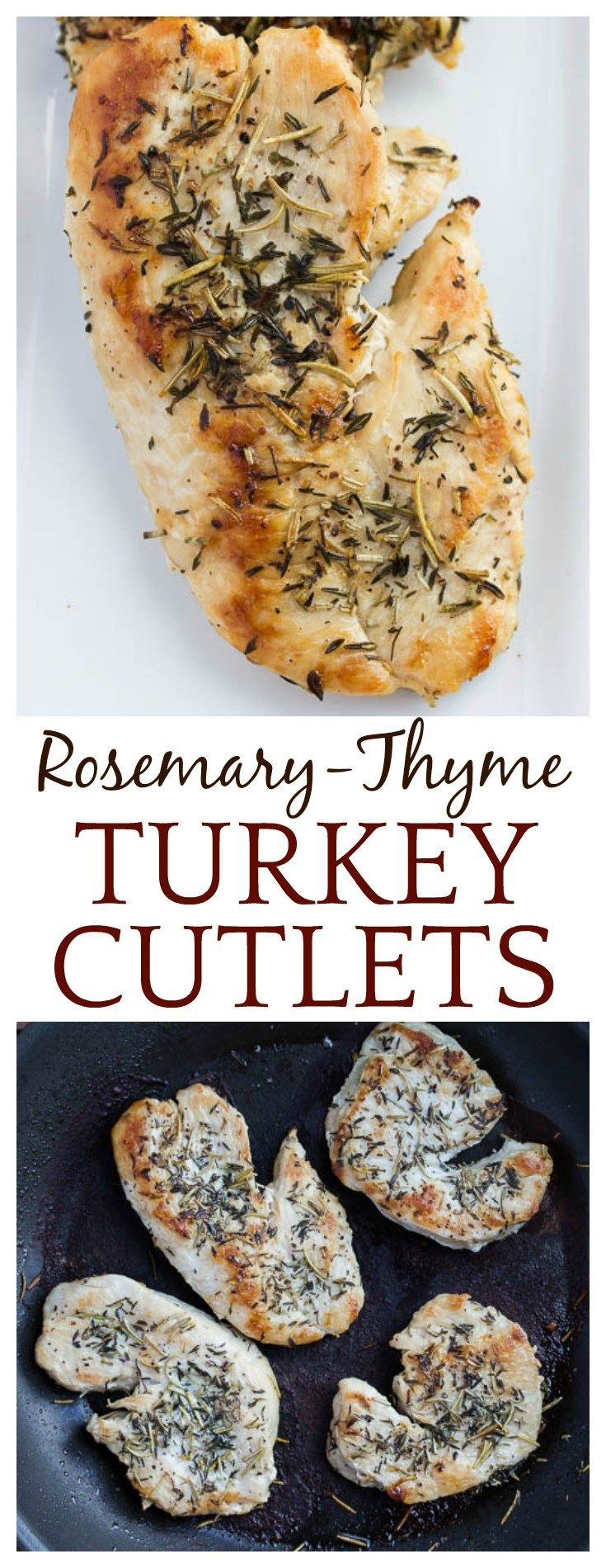 Who says turkey is only for Thanksgiving Day? This recipe for Rosemary-Thyme Turkey Cutlets makes an easy dinner for weeknights, but also works great for company. This recipe naturally gluten free and low carb, and kids love it too! It's family friendly a
