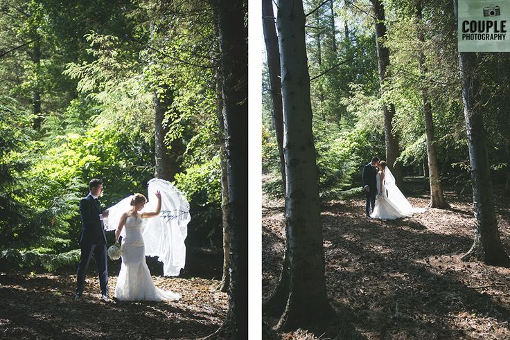 The sunlight hits the bride's veil. Weddings at Druids Glen Hotel by Couple Photography.