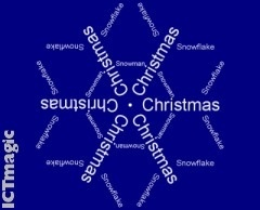 Make a Text Snowflake with this easy to use online creator. Enter three lines of text, adjust colours and print to make a display or part of a Christmas card.