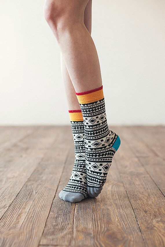 Aztec colorful funny socks for women. Fun patterned by SammyIcon