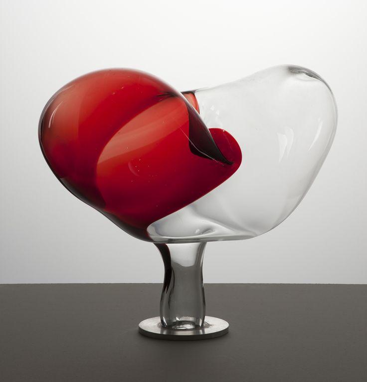 "Lubomir Blecha, Anthropomorphic sculpture ""Unknown pain"", H: 47,0 cm, 1977, glassworks Zlatno, Czechoslovakia"