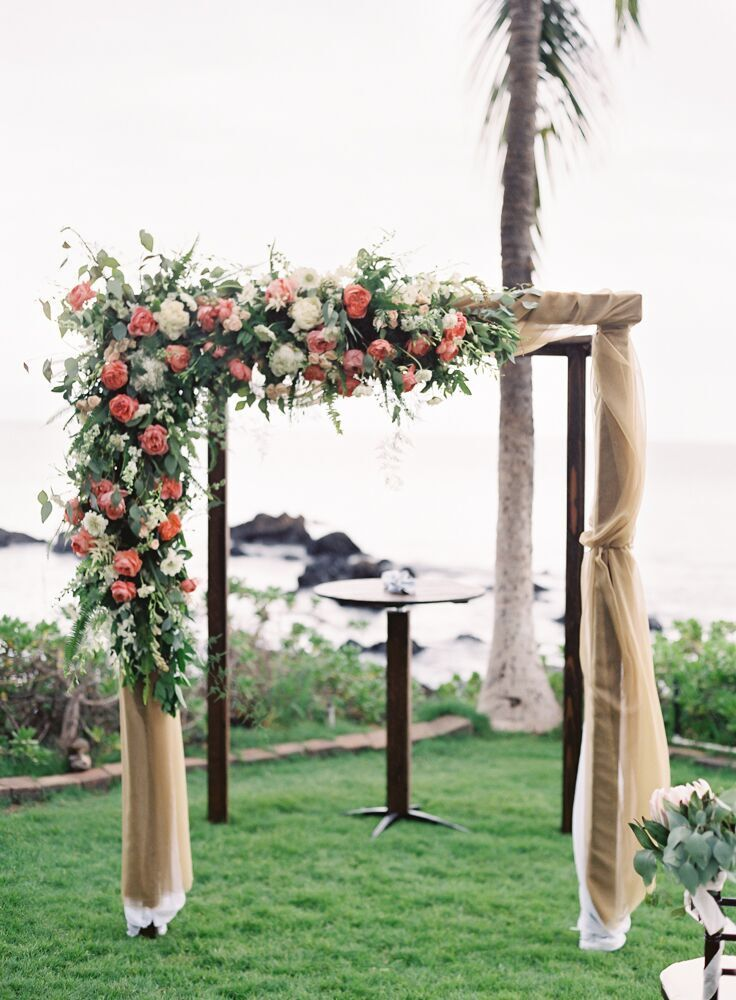 Taupe And Coral Wedding Canopy