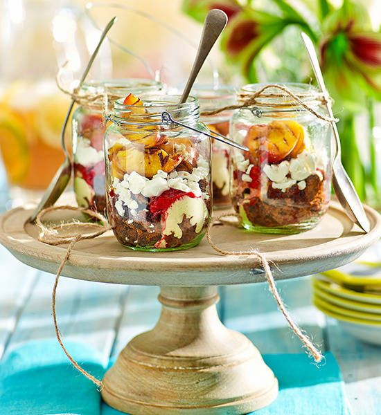 Peach Eton mess: The ever-so English classic with a peachy punch! Serve in sweet jars for a vintage twist.