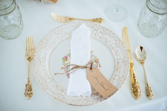 Vintage place settings at the wedding reception ~ Kirsten & Christian's rustic, DIY small budget Virginia wedding. Images by Porter Watkins Photography.