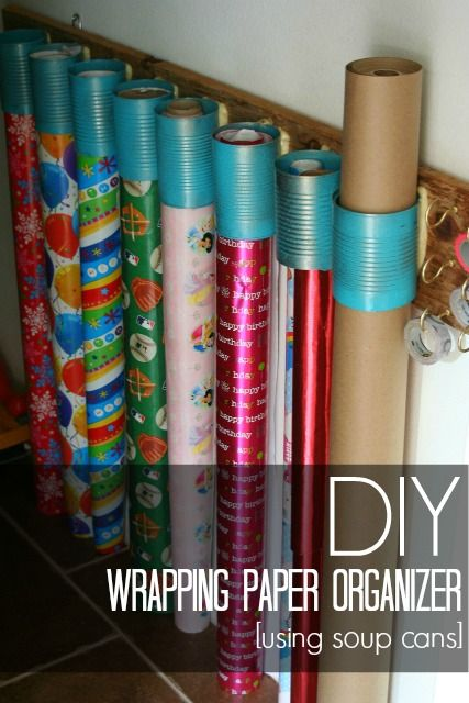 diy wrapping paper organizer using soup cans and scrap wood #sundaybestlinkyparty #thegirlcreative