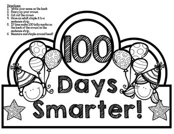 100th day hat template - 100 days smarter crown celebrate the 100th day of school