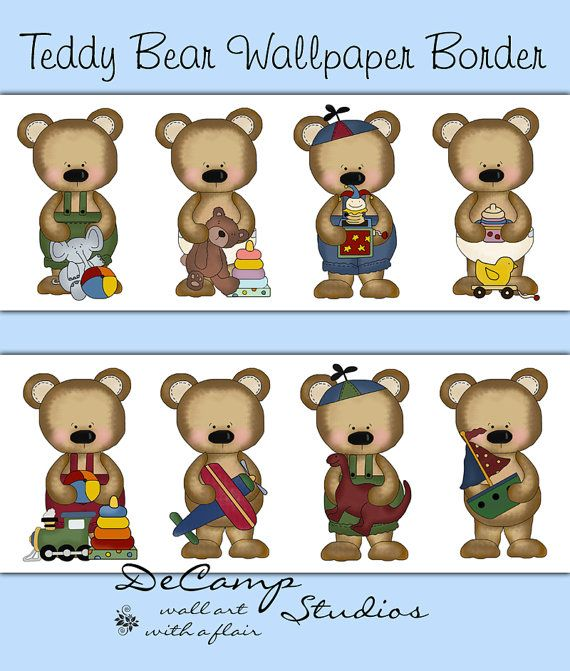 Teddy Bear wallpaper border wall decals for baby boy