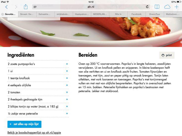 Opgevulde paprika met tonijn, Superlekker!