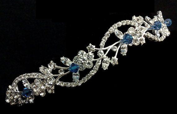 Something Blue Bridal Tiara Swarovski Crystal Wedding by YJDesign, $85.00