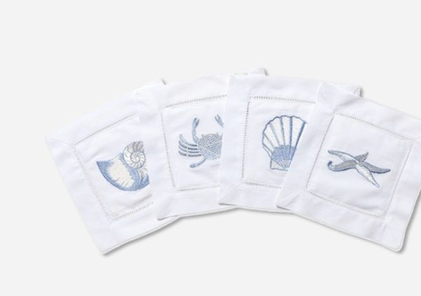 Sea Life Assortment Cocktail Napkin Beautifully embroidered, large sea life on 100% cotton. Classic hemstiched border completes the design of these cocktail napkins. Pearl Nautilus, Crab, Sand Dollar, Coral Designs.  | | Lip Service Napkins | | cheers to story telling, laugh-sharing & memory-making - Shop Retreat Napkins  Dinner Party | Wedding | Event | Vacation | Relax | Host | Planning | Table Setting | Entertaining