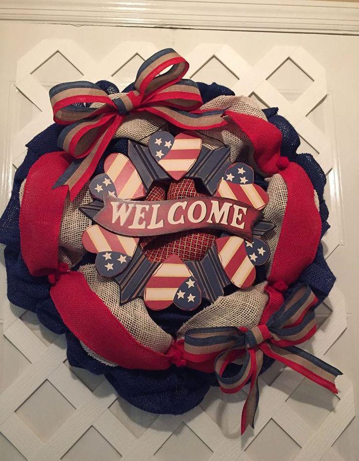 Patriotic Door Decor   * * We Welcome CUSTOM ORDERS * *  Etsy - ElsiesCreativeDesign.etsy.com  FB Page - https://www.facebook.com/elsiescustomdesigns  #MemorialDay #USA #RedWhiteBlue #StarsAndStripes #GodBlessUSA #GodBlessAmerica #Patriotic #PatrioticDecor #FourthOfJuly #LaborDay #VeterensDay #Military #FireFighters #EMS #lawEnforcement #CoastGuard