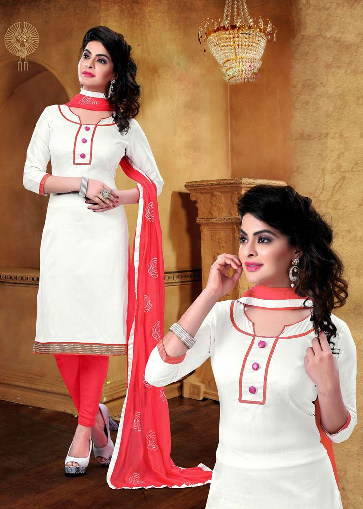 Off White Cotton Churidar Suit 70052