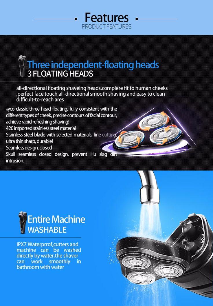 Flyco FS370 IPX7 Waterproof Razor Rotary Electric Floating Shaver Intelligent Shaving Black - Tmart