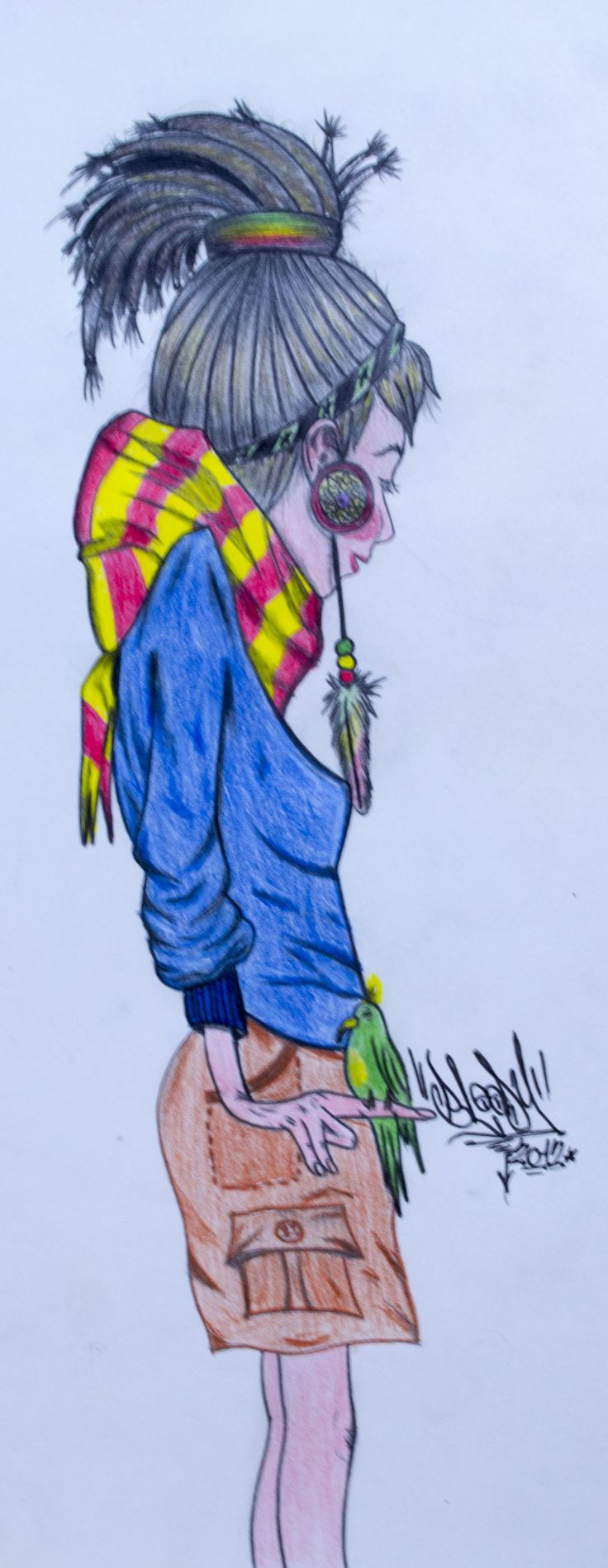 Rasta girl. Ilustración hecha a la pices de color. 20x35cm