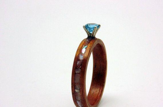 Handmade wood Engagement ring  Hawaiian Koa and Topaz