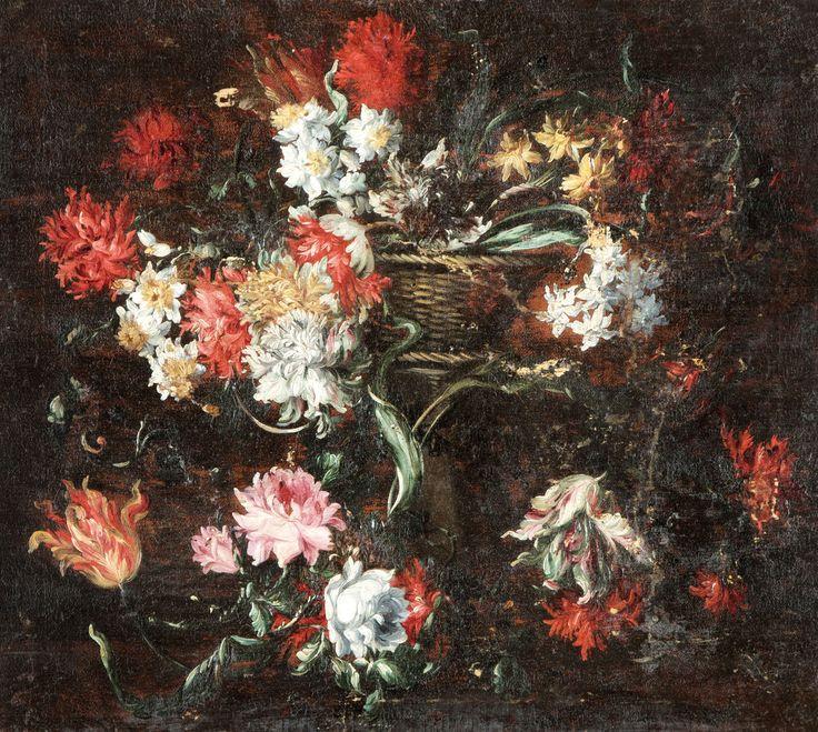 Aukció: 2015. május 27.: Nápolyi festő, 1700 körül; Virágcsendélet; olaj, vászon