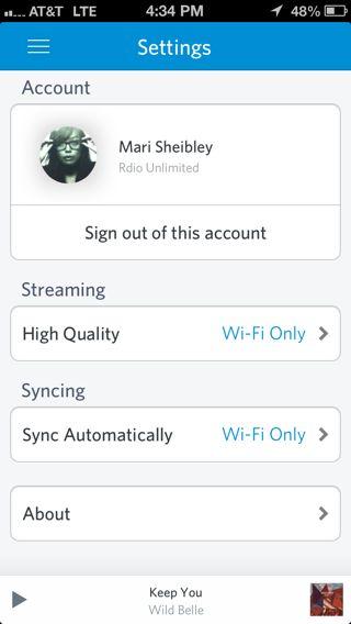 Rdio iPhone settings screenshot