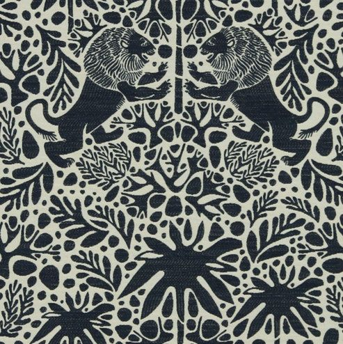 Navy Blue Animal Upholstery Fabric with Lions - Navy Blue Ivory Home Decor Fabric - Heavyweight Woven Exotic Animal Pillow Covers Online
