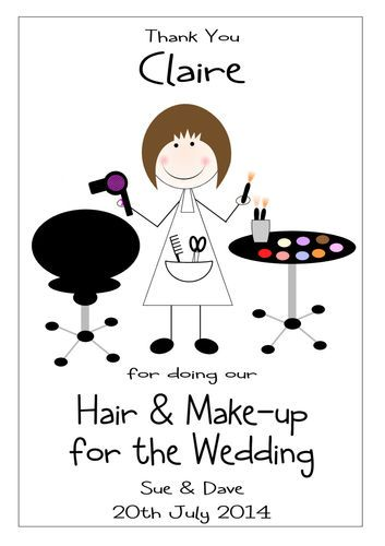HAIR & MAKE UP WEDDING DAY THANK YOU CARD PERSONALISED ANY WORDING | eBay