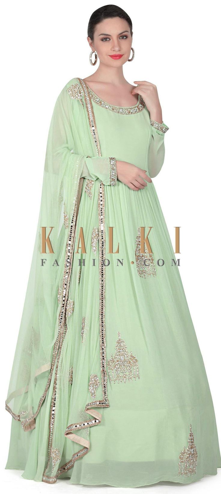 Buy this Pista green anarkali suit adorn in embroidered butti only on Kalki