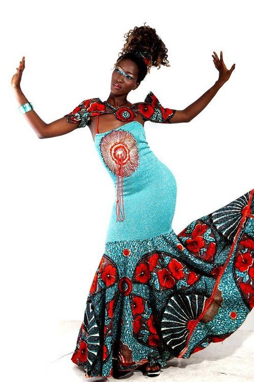 Love that teal!! ~Latest African Fashion, African Prints, African fashion styles, African clothing, Nigerian style, Ghanaian fashion, African women dresses, African Bags, African shoes, Nigerian fashion, Ankara, Kitenge, Aso okè, Kenté, brocade. ~DK