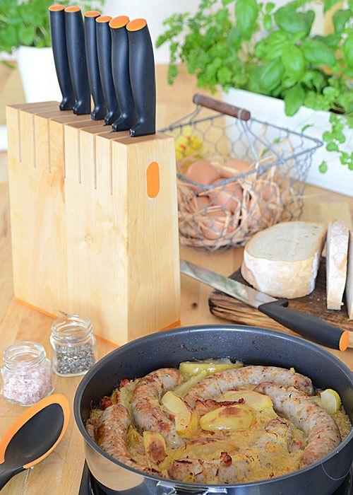 Biała kiełbasa pieczona z jabłkami, cebulą i kiszoną kapustą - etap 14