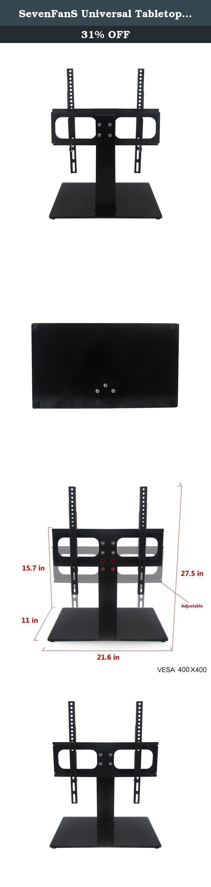 """SevenFanS Universal Tabletop TV Stand/Tv mount stand with Height adjustment, LED television support screen small TV stand rack VESA 400x400, suitable for TV up to 40"""". SevenFanS Universal Tabletop TV Stand/Tv mount stand help you make your video/audio nice looking. 8mm black tempered glass base with strong steel upright can be loading 77lbs. Height adjustable can help you can find a prefect height for your TV watching. Glass size 21.65""""*11"""" the mount VESA from 100*100mm to 600*400mm, it..."""