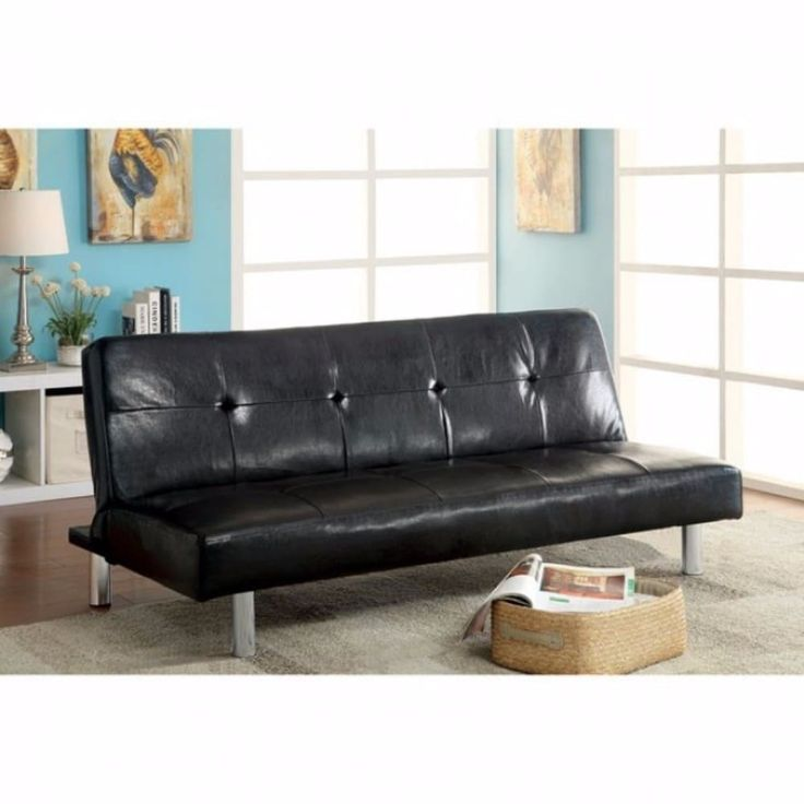 Benzara Eddi Black-finished Leatherette Contemporary Sofa Futon, Black, Size Chair