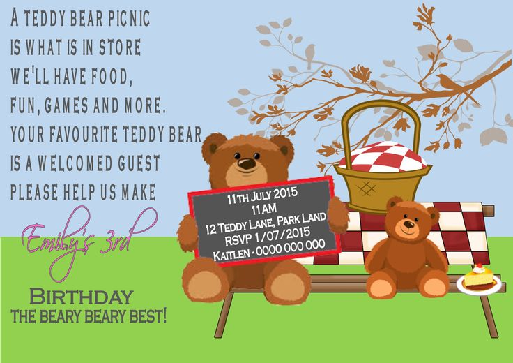 Teddy Bears Picnic Inviation$12AUD emailed to you - you print and frame PAYPAL ACCEPTED!  Order here  www.facebook.com/readyforprint