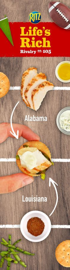 When competition heats up, cool things down. Simply pair Alabama-style chicken tenders with Louisiana-style cajun seasoning in RITZ Cajun Chicken Toppers. Follow this easy recipe for a wow-worthy snack. 1. Toss chicken w/ cajun seasoning & grill 2. Cook onions 3. Slice chicken tenders & top RITZ Crackers w/ peppers & chicken 4. Drizzle w/ blue cheese dressing. Rivalry has never tasted so good!