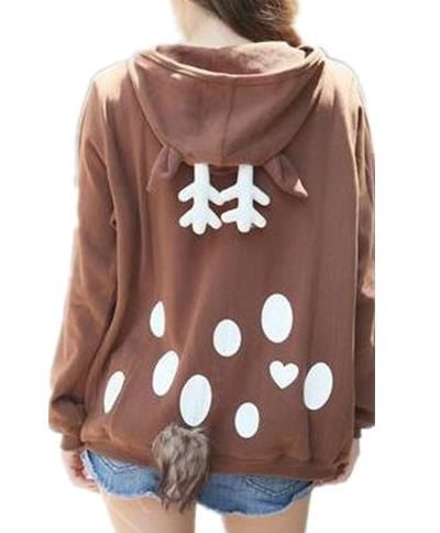 Kawaii Elk Hoodie with a tail Girls What are you by YJstudio, $68.00