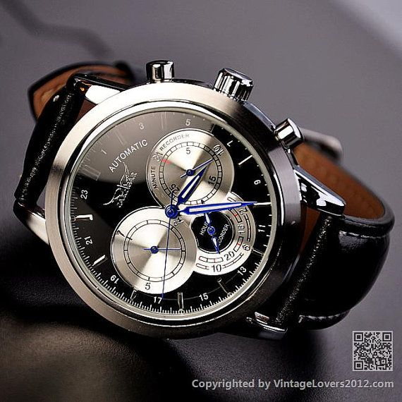 Mens Black Watch WAT0093BLACK by VintageLovers2012 on Etsy