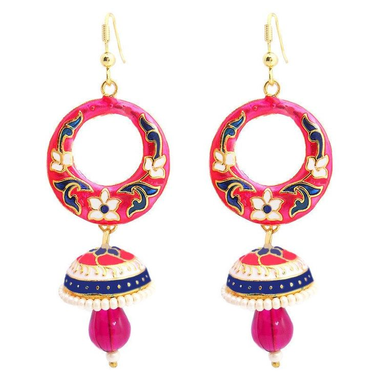 Pink colour and attractive pearl earring. Occasion - Wedding Wear & Traditional Wear