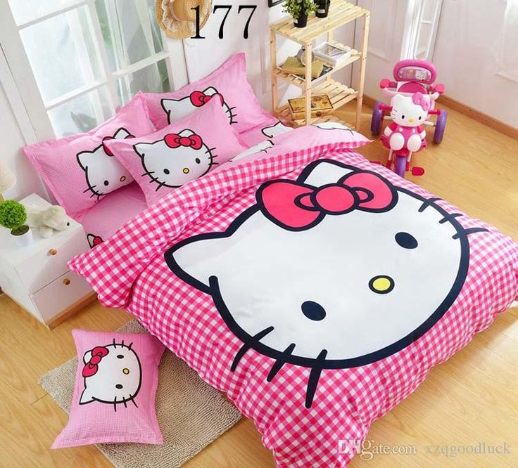 Cartoon Children Cute Lovely Pink Hello Kitty Bedding Set Bed Sheet Set Hello Kitty Duvet Cover Bed Sheet Pillowcase, Twin/Queen Blue Duvet Twin Size Bedding Sets From Xzqgoodluck, $45.23| Dhgate.Com
