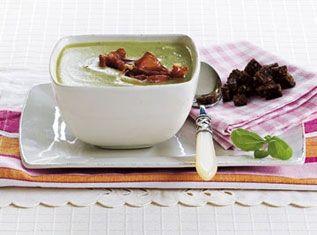 Til denne suppe passer serranoskinke og rugbrødscroutoner særdeles godt
