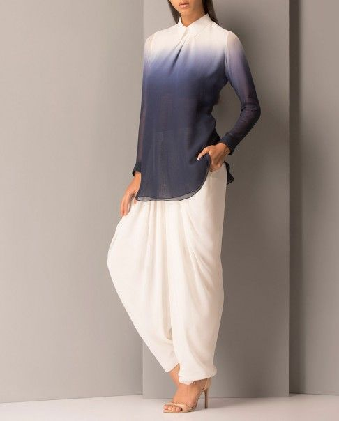 Ivory and Navy Color Block Top- $132