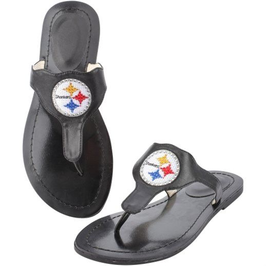 Cuce Shoes Pittsburgh Steelers Women's Black Team Sandals