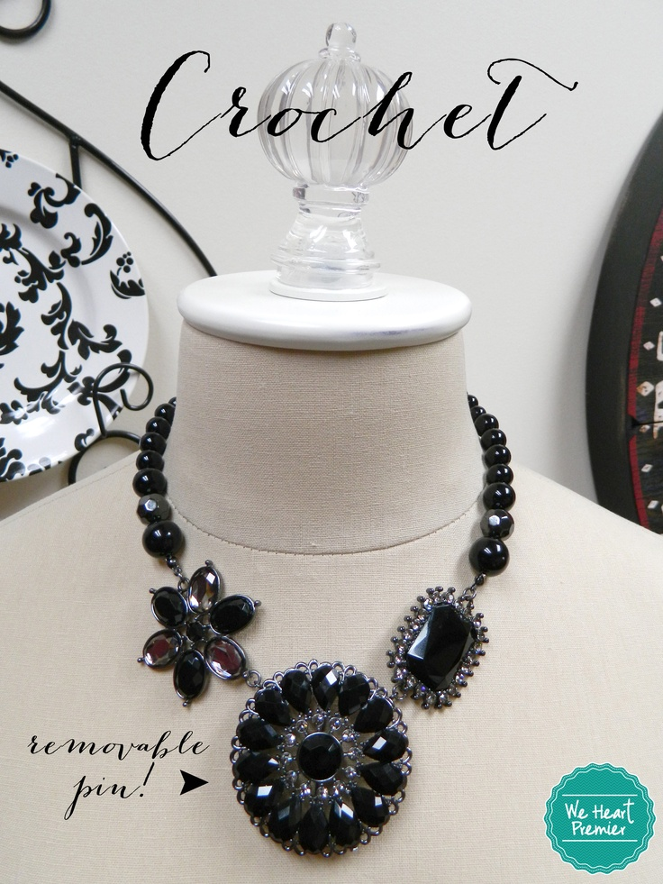 {Crochet necklace by Premier Designs}  The center pendant is a removable pin.  Remove & clip in other necklaces with the spring ring closures.  Then you can use the pin on just about anything you wish! #weheartpremier