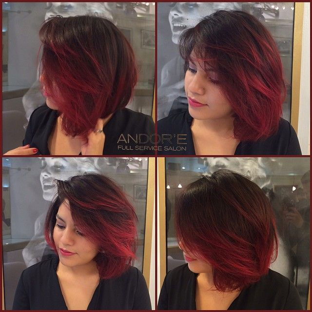 Gorgeous Fire Red Balayage Ombre on Short Hair