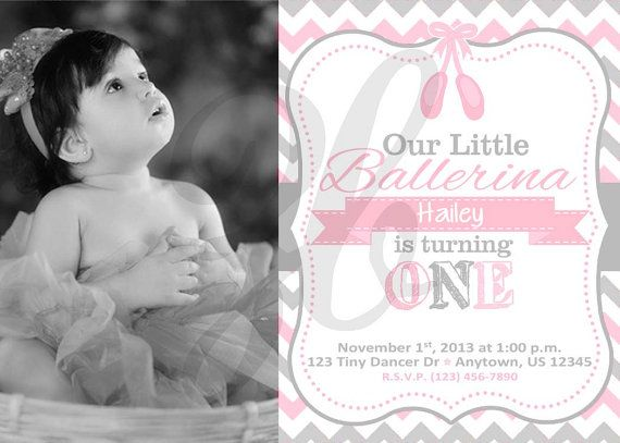 Ballerina Ballet Birthday Invitation with by ZoeyBlueDesigns